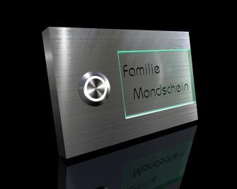 Design Edelstahlklingel mit Acrylglasschild