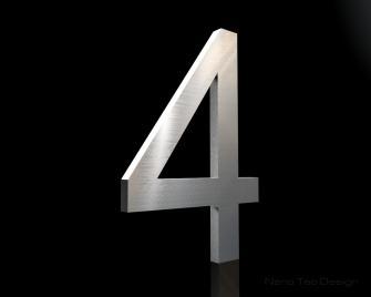 Edelstahl Hausnummer 4 in 6mm Stärke (Schriftart: Arial)