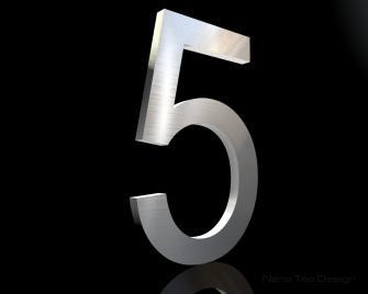 Edelstahl Hausnummer 5 in 6mm Stärke (Schriftart: Arial)