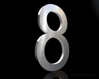 Edelstahl Hausnummer 8 in 6mm Stärke (Schriftart: Arial)