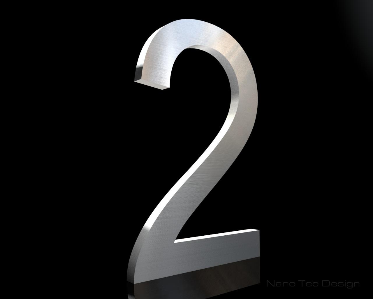 Edelstahl Hausnummer 2 in 6mm Stärke (Schriftart: Arial)